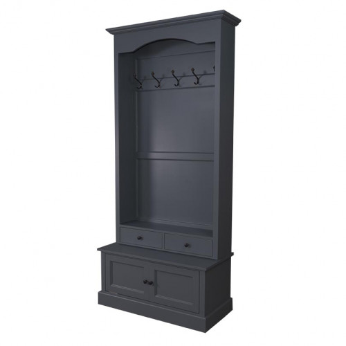 Vestiaire Porte-manteau 2 portes 2 tiroirs 5 patères ROMANE