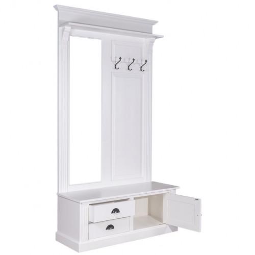 Vestiaire Porte-manteau avec miroir 1 porte 2 tiroirs 3 patères ROMANE