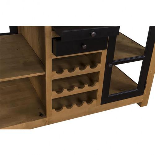 Ilot central de cuisine ROMANE avec porte bouteilles - 150x90x90 cm