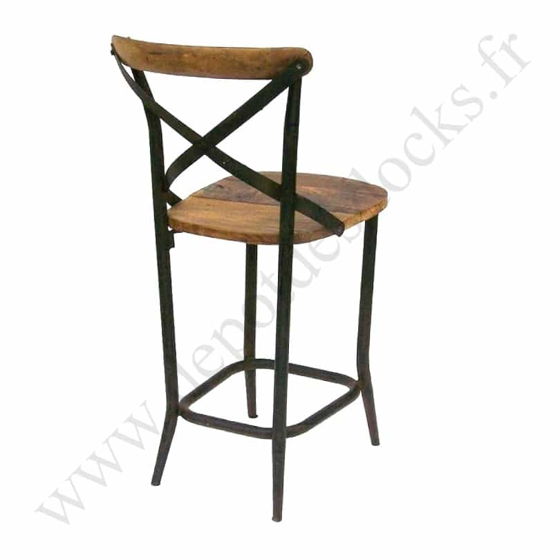 tabouret de bar vintage industriel m tal vieux bois le. Black Bedroom Furniture Sets. Home Design Ideas