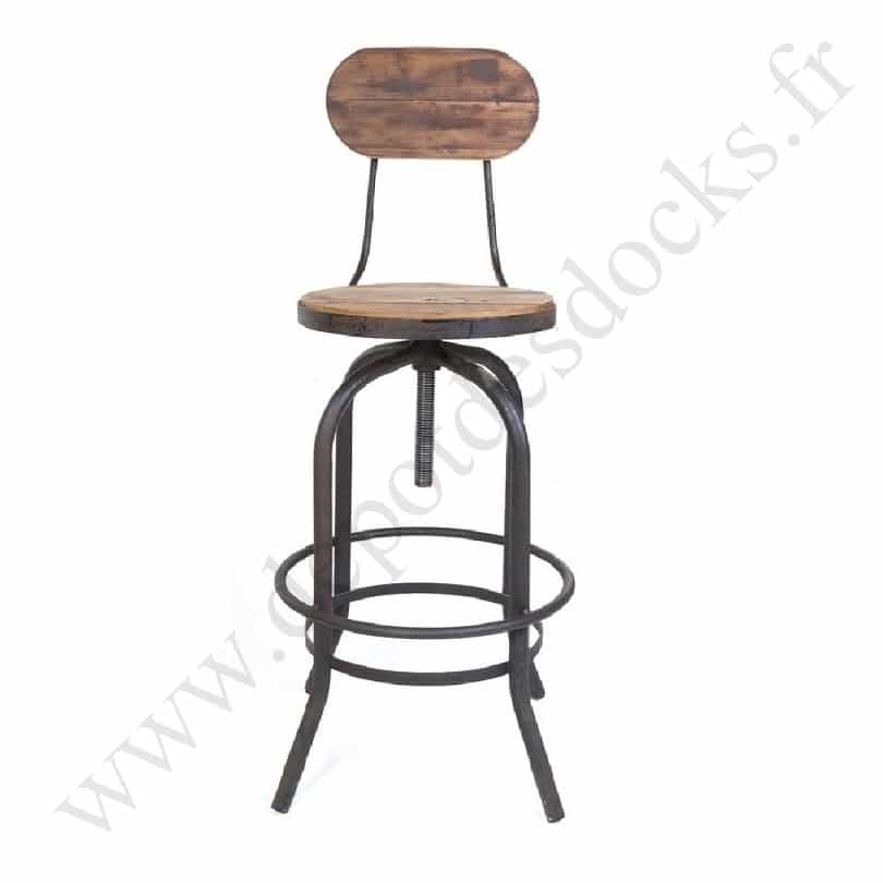 tabouret de bar vintage industriel m tal vieux bois r glable le d p t des docks. Black Bedroom Furniture Sets. Home Design Ideas