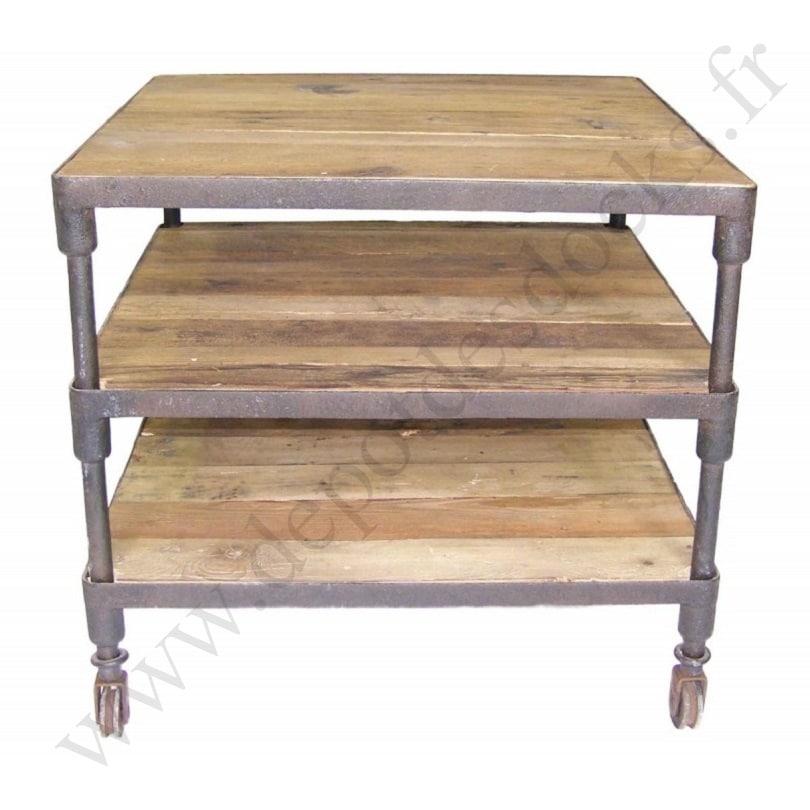 desserte vintage industrielle m tal vieux bois le d p t des docks. Black Bedroom Furniture Sets. Home Design Ideas