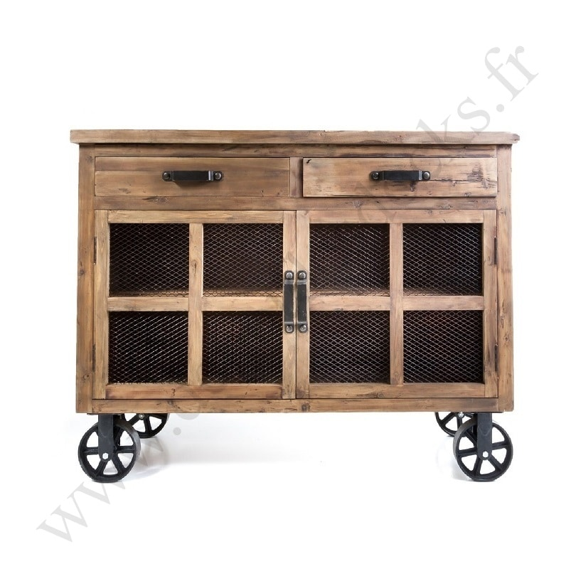 buffet bas vintage industriel m tal vieux bois avec roues le d p t des docks. Black Bedroom Furniture Sets. Home Design Ideas