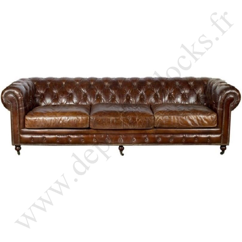 grand canap chesterfield en cuir vieilli le d p t des docks. Black Bedroom Furniture Sets. Home Design Ideas