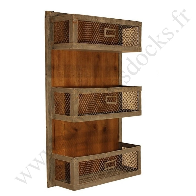 etag re murale de style vintage industriel en m tal et vieux bois le d p t des docks. Black Bedroom Furniture Sets. Home Design Ideas