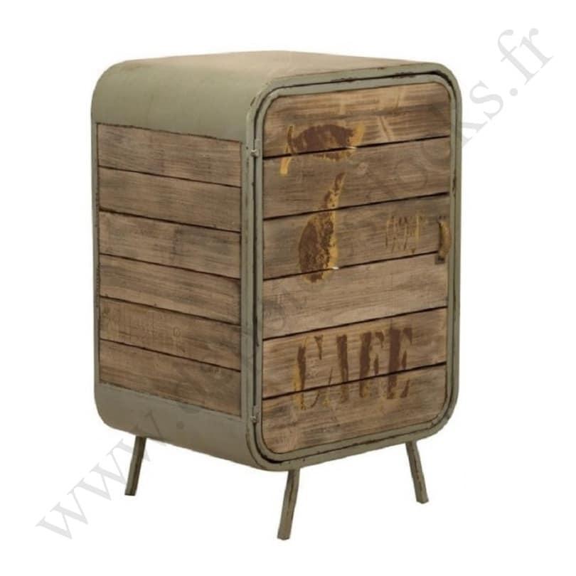 meuble de rangement ouvrant 1 porte de style vintage industriel en m tal et vieux bois le. Black Bedroom Furniture Sets. Home Design Ideas