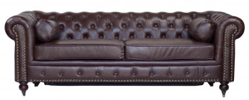 Canapé chesterfield bed en cuir marron