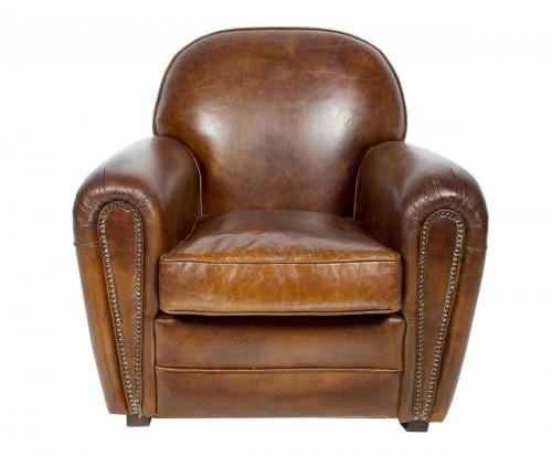 Fauteuil «Le veritable club» en cuir vieilli