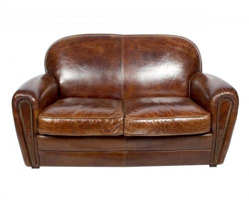 Canapé «Le veritable club» en cuir vieilli