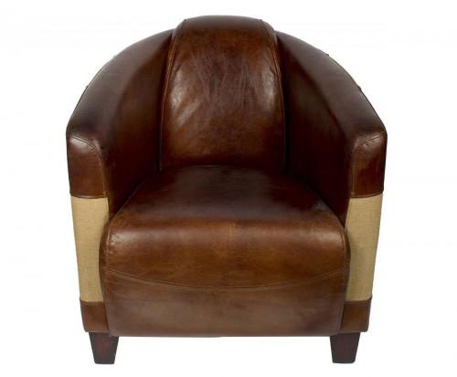Fauteuil Cabriolet «Le Gentleman» en cuir vieilli et toile de jute