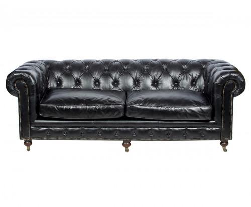 Canapé Chesterfield en cuir vintage noir