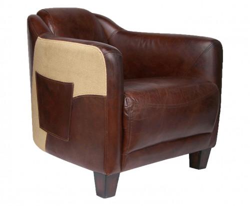 Fauteuil Cabriolet «Le Pockette» en cuir vieilli et toile de jute