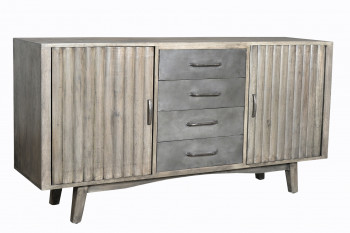Buffet vintage industriel metal & bois 2 portes & 4 tiroirs