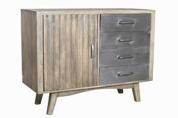 Buffet vintage industriel metal & bois 1 porte & 4 tiroirs