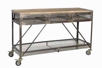Grande Console à roulettes vintage industriel metal & bois 3 tiroirs