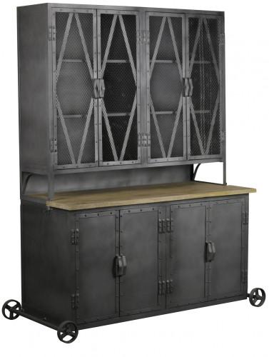 Buffet Atelier vintage industriel en métal & manguier massif ouvrant à 8 portes