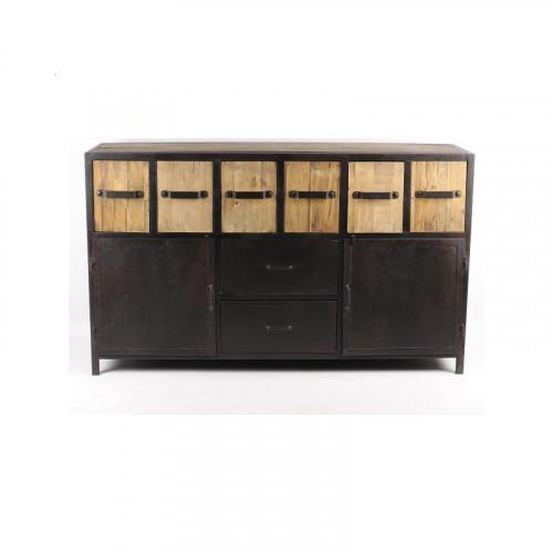 Buffet de style industriel en métal et vieux bois ouvrant à 2 portes et 8 tiroirs