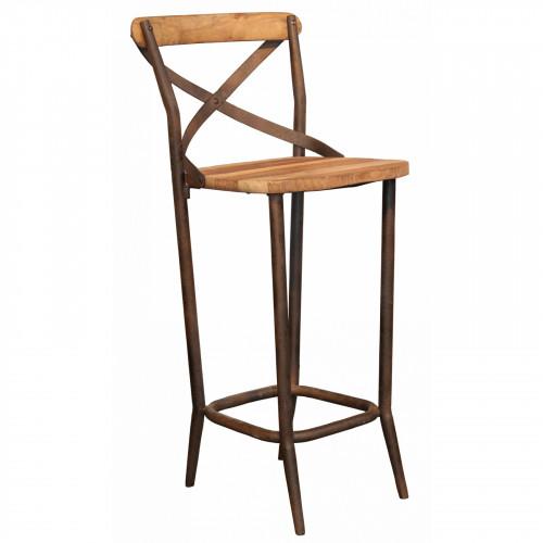 chaise haute de bar industrielle metal et vieux bois le d p t des docks. Black Bedroom Furniture Sets. Home Design Ideas