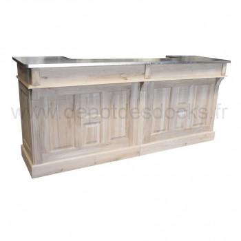 Comptoir bar en chêne massif de 240 cm plateau Zinc