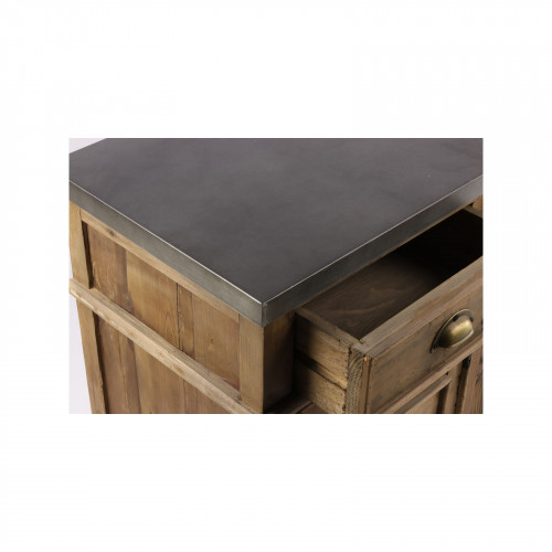 Enfilade «Marfa» de métier 160x40 en bois et en Zinc acier