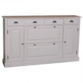 Meuble àchaussures avec 2 portes basculantes, 2 placards et 4 tiroirs