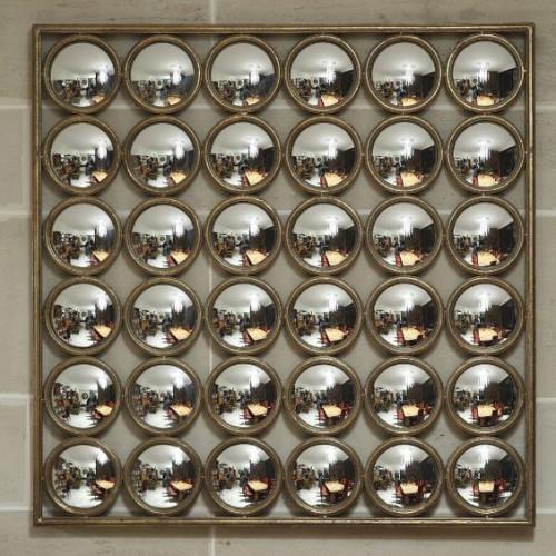 Grand miroir sorcière en métal de style industriel - 104x104 cm
