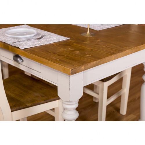 Table à manger avec pieds tournés et 3 tirois