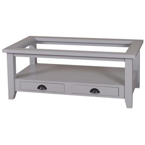 Table de salon en bois massif ROMANE plateau en verre - 120x65x48 cm