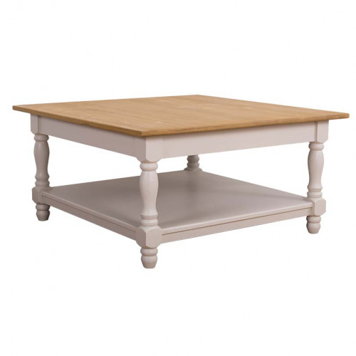 Table basse en pin massif ROMANE - 90x90x45 cm