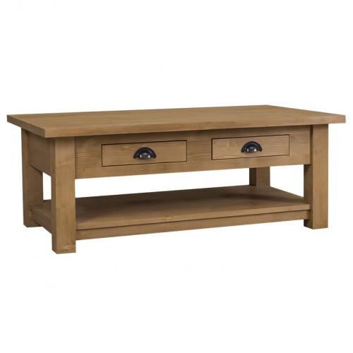 Table de salon en bois massif avec 2 tiroirs