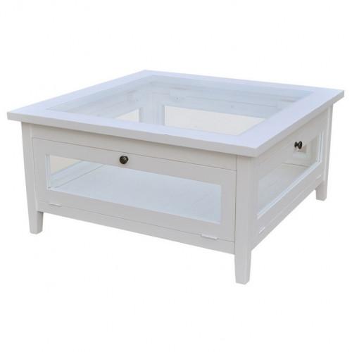 Table basse avec plateau en verre - 90 x 90 cm