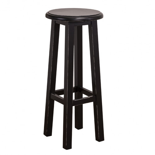 Tabouret de bar rond en pin massif