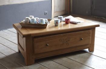 Table de salon DUBLIN 100% chêne massif - 110x55x42 cm