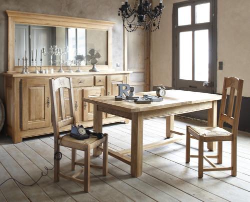 Table rectangulaire extensible DUBLIN 100% chêne massif - 180/260x95x76 cm