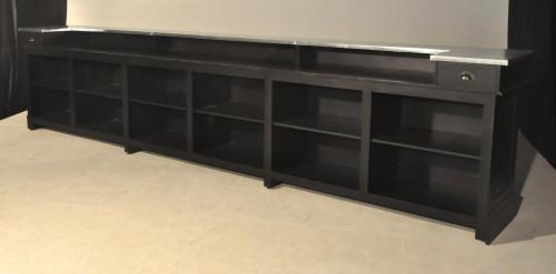 Bar comptoir en pin massif de 480 cm avec plateau Zinc