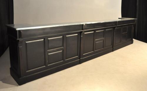 Comptoir Bar en pin massif plateau Zinc acier - 480x65x107 cm