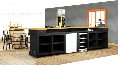 Comptoir Bar en pin massif de 300 cm avec plateau en Zinc