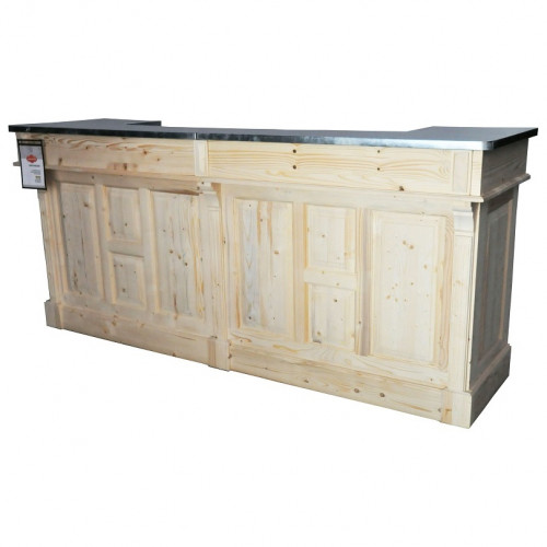 Comptoir bar en pin massif plateau Zinc acier - 240x65x107 cm