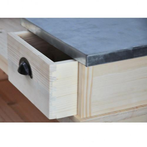 Comptoir Bar d'angle en pin massif 140x140 cm avec plateau Zinc
