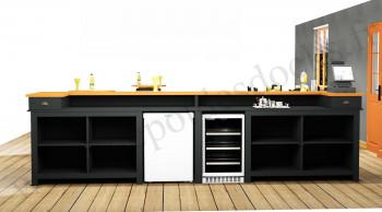 Comptoir Bar PROFESSIONNEL avec espace Lave-verres et machine à glaçons en pin massif plateau Zinc - 400 cm