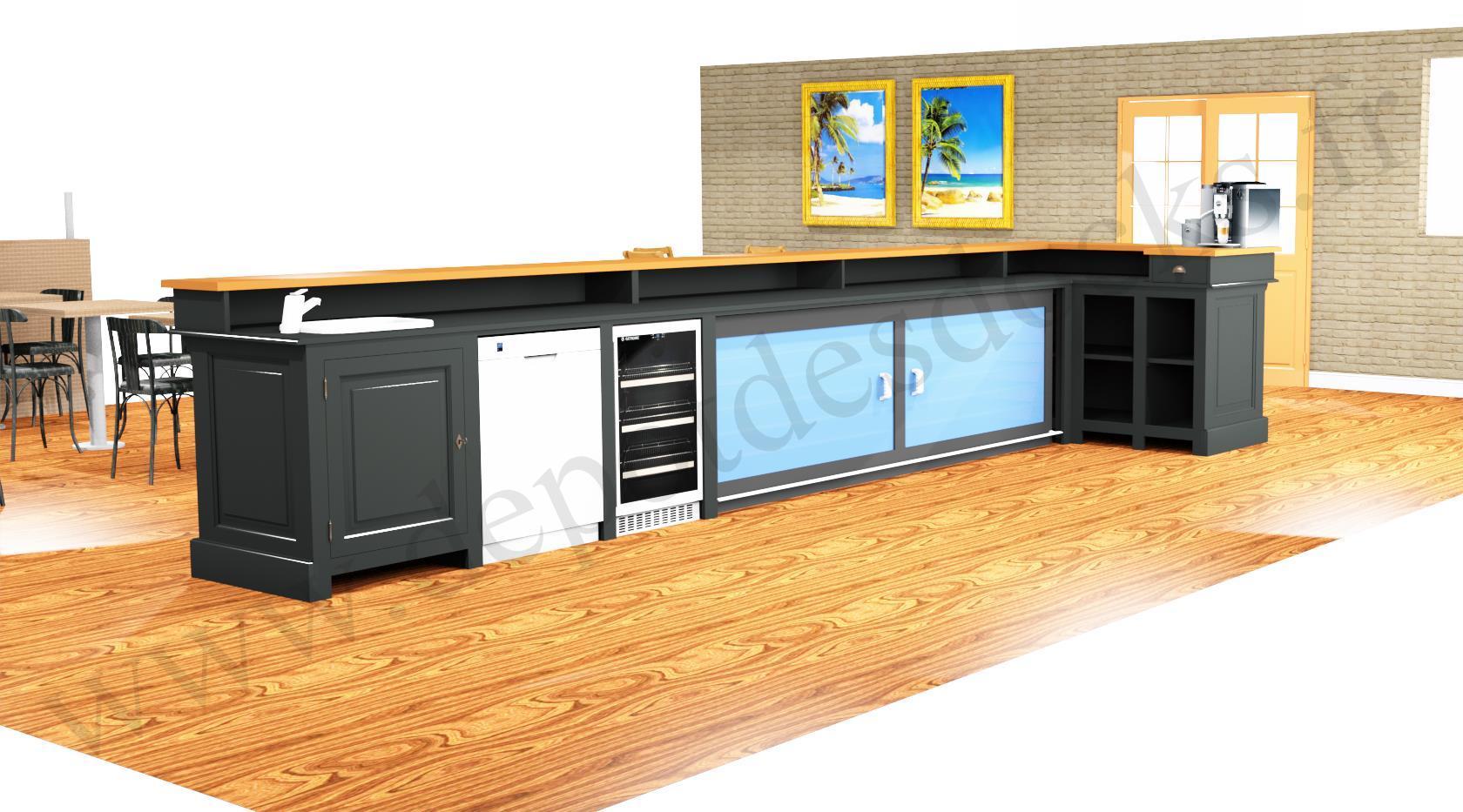 Amenagement De Bar Professionnel comptoir bar d'angle professionnel avec espace lave-verres machine à  glaçons armoire frigo bac evier en pin massif plateau zinc - 578x168 cm