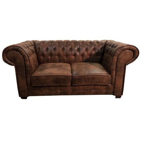 Canapé 2 places de type chesterfield en tissu microfibre façon cuir vieilli