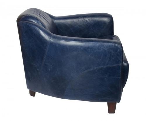 Fauteuil vintage OXFORD en cuir bleu