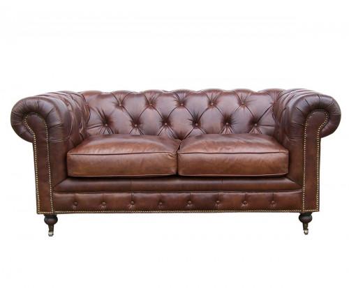 Canapé CHESTERFIELD en cuir vieilli