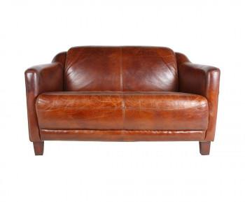 Canapé vintage OXFORD en cuir cigare