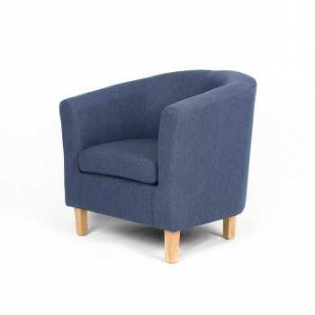 Fauteuil Cabriolet GORAN en tissu bleu pieds naturel