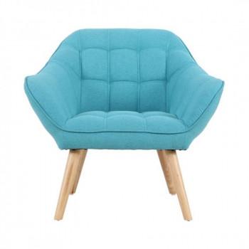 Fauteuil VISBY de style scandinave en tissu bleu turquoise