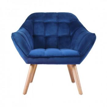 Fauteuil VISBY de style scandinave en velours bleu