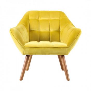 Fauteuil VISBY de style scandinave en velours jaune