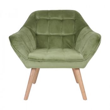 Fauteuil VISBY de style scandinave en velours vert